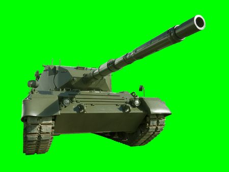 isolation tank: A German-built Leopard main battle tank set on a green background for easy isolation.