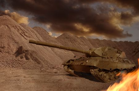 A European-built main battle tank engaged in a desert firefight. photo