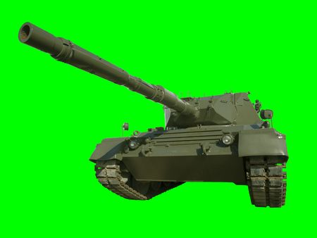 isolation tank: A German-built Leopard main battle tank set on a green background for easy isolation