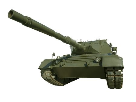 tracked: A German-built Leopard main battle tank set on a white background for easy isolation