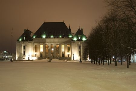 A winter night shot of the Supreme Court of Canada in Ottawa. photo
