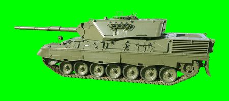 tracked: A German-built Leopard main battle tank set on a green background for easy isolation. (The JPEG file also includes a clipping path to isolate the tank.)