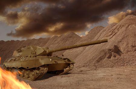 invincible: A European-built main battle tank engaged in a desert firefight. Stock Photo