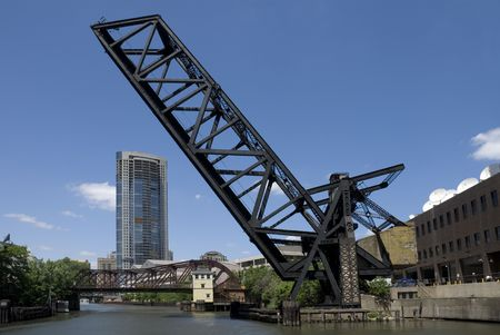 counterweight: The Kinzie Street railroad bridge across the north branch of the Chicago River.