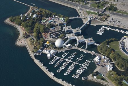 An aerial shot of Ontario Place in Toronto, Canada. photo