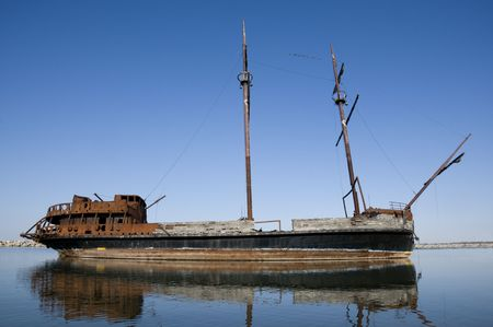 rusting: The rusting remains of the steel-hulled ship La Grande Hermine (The Big Weasel) Stock Photo