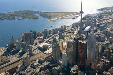 building cn tower: The towers of downtown Toronto, Canada, seen from just above Yonge Street. Stock Photo