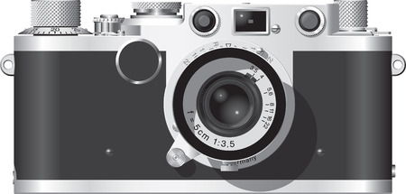 Front elevation of a classic German rangefinder camera with a 50mm lens. Illustration