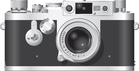 camera film: Front elevation of a classic German rangefinder camera with a 50mm lens. Illustration