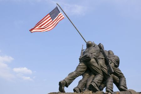 The US Marine Corps War Memorial is located near Arlington National Cemetery in Rosslyn, Virginia. It is dedicated to all personnel of the United States Marine Corps (USMC) who have died defending their country since 1775.