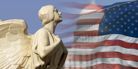 The winged figure of Democracy pursues the symbols of American power and nationhood.