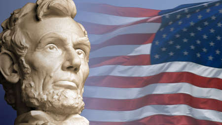 Abraham Lincoln, the sixteenth President of the United States, with the current flag of the USA. Stock Photo