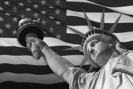 enlightening: The Statue of Liberty Enlightening the World was a gift of friendship from the people of France to the people of the United States and is a universal symbol of freedom and democracy. Sculptor Frederic-Auguste Bartholdi was commissioned to design a sculptu Stock Photo