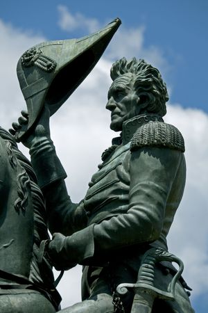 jackson: A statue by Clark Mills, in Layfayette Park, Washington, DC, of President Andrew Jackson riding his horse. Jackson was the seventh president of the United States from 1829 to 1837. Stock Photo