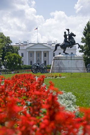 The north facade of the White House seen from Lafayette Park. The equestrian statue of President Andrew Jackson was erected in 1853. Stock Photo