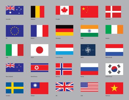 the netherlands: De vlaggen van Australië, België, Canada, China, Denemarken, EU, Frankrijk, Duitsland, India, Ierland, Italië, Japan, Luxemburg, de NAVO, Nederland, Nieuw-Zeeland, Noord-Korea, Noorwegen, Rusland, Zuid-Korea, Zweden, Taiwan, UK, USA, en Vietnam getrokken in CMYK en geplaatst