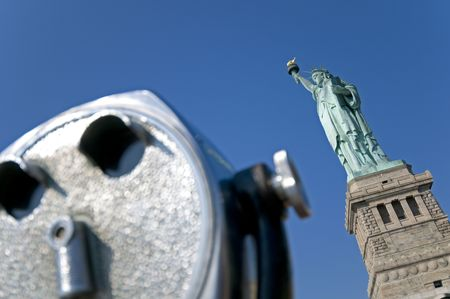 A public observation scope near the Statue of Liberty in New York. photo