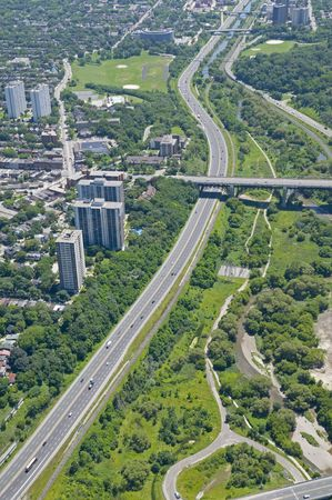 zoned: The Bloor Street viaduct crossing the Don Valley Parkway. Shot from just above the Don River in early summer. Stock Photo