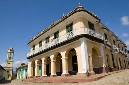 central square: The Romantico museum in the central square of Trinidad, Cuba.