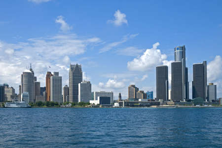 Downtown Detroit - including the GM Renaissance Center, and Ford Auditorium - seen across the Detroit River from Windsor, Ontario, Canada.