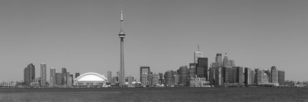 building cn tower: A black and white panorama, with an aspect ratio of 3:1, of downtown Toronto, Ontario, Canada. Stock Photo
