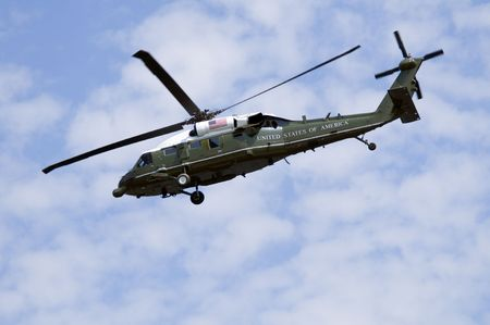 A helicopter as used by the US President, when it is referred to as Marine One. Stock Photo