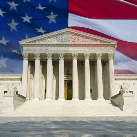 The front of the US Supreme Court in Washington, DC, montaged with the current US flag.