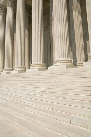 The steps and columns at the entrance to the US Supreme Court in Washington, DC. photo