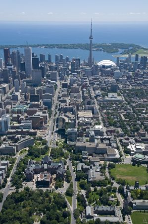 Downtown Toronto, Canada, seen from just above Bloor Street West and Queens Park, looking south towards the Toronto Islands. photo