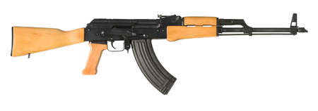 An AK-47 (Avtomat Kalashnikova) Kalashnikov assault rifle on white. The largest original file shows the gun at half its actual size. A clipping path is included for easy isolation. Stock Photo