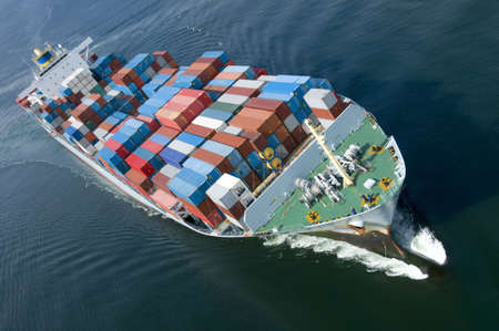 An aerial view of a container ship. photo