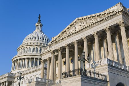 lobbying: The eastern facade of the US Capitol Building, shortly after dawn. The entrance to the Senate is on the right.