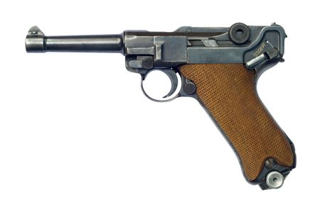 gunmetal: A German (Pistole Parabellum 1908) Luger P08 pistol with the safety catch on. The Luger was made popular by its use by Germany during World War I and World War II.