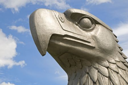 The head of the eagle that once stood on the top of the main terminal at Tempelhof airport in Berlin. It was modeled by the sculptor W. Lemke to specifications provided the buildings architect, Ernst Sagebiel.