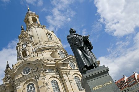 frauenkirche: The statue of Martin Luther in front of the Frauenkirche in Dresden, Germany. The church was destroyed during the aerial bombing of the city that began on February 13, 1945. Reconstruction was completed in 2005.