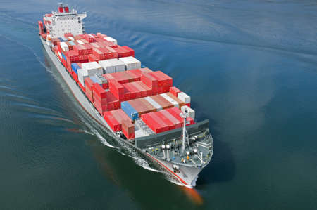 An aerial view of a container ship. Stock Photo - 8454426