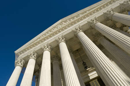 government: The front of the US Supreme Court in Washington, DC. Stock Photo