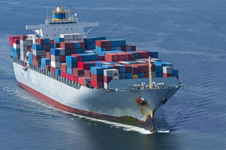 SHIPPING CONTAINERS: An aerial view of a container ship.