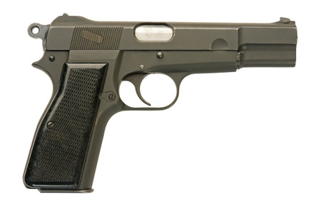 A Canadian-made 9mm semi-automatic military pistol.