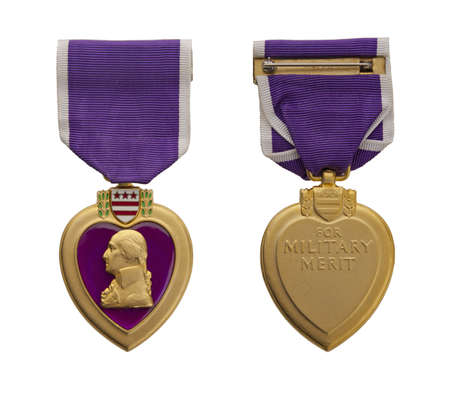 purple heart: The front and back of a modern US Purple Heart medal.