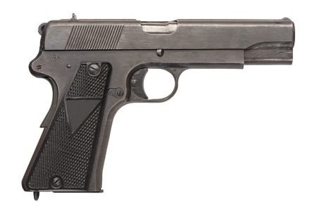 9mm: A Polish 9mm semi-automatic military pistol from World War Two.   Stock Photo