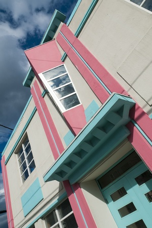 A detail of a newly restored art deco building in St Johns, Newfoundland, Canada. Stock Photo