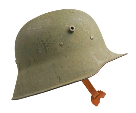 A German World War One  Stahlhelm M1918  military helmet  The Stahlhelm made its first appearance at the Battle of Verdun in February 1916  This particular example was also used by Finnish Army during the Winter and Continuation Wars with the Soviet Union Stock Photo