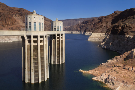 Two of the Hoover Dam intake towers on the Arizona side of the structure. photo