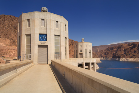 Two of the Hoover Dam intake towers, seen from the Nevada side of the structure.