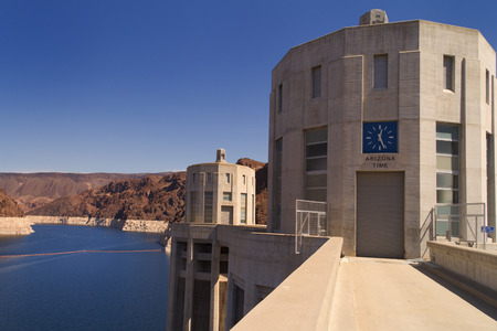 intake: Two of the Hoover Dam intake towers on the Arizona side of the structure.