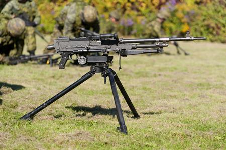 A tripod-mounted 7.62mm general purpose machine gun.