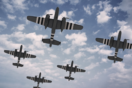 us air force: A formation of five American planes, painted with D-Day invasion stripes.