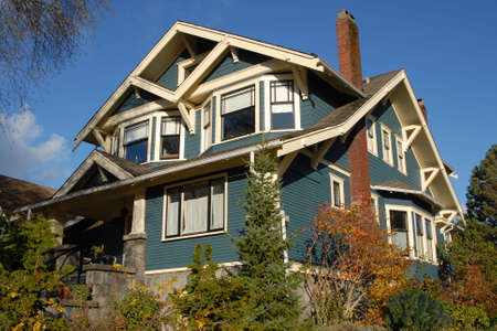 bungalows: A Craftsman Style house in autumn.