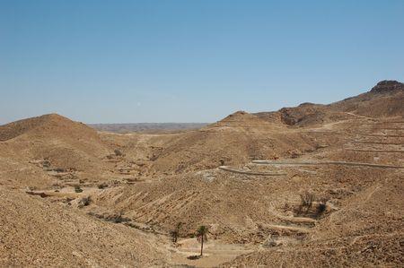 matmata: Moon landscape in the sand dunes of Tunisia in the Sahara Desert near the village of Matmata. where Star wars and English patient were shot